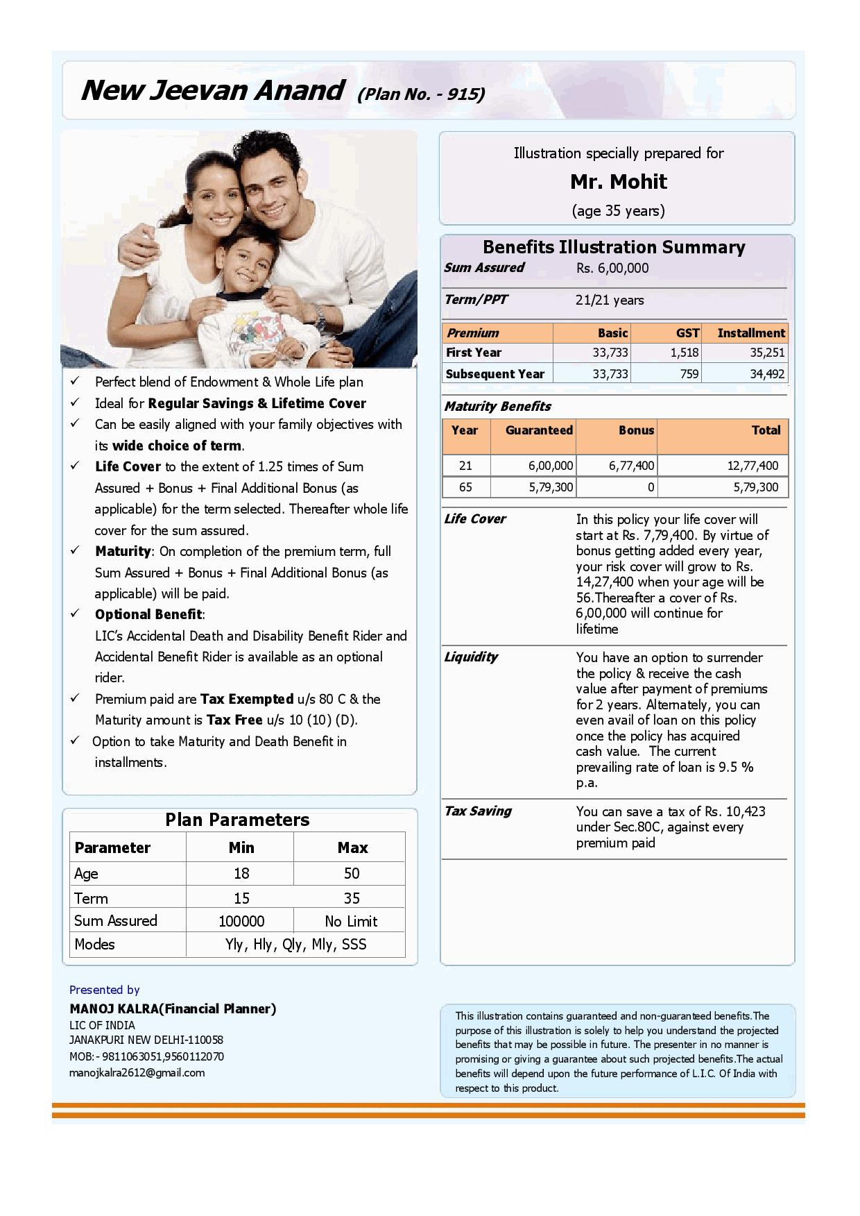 New Jeevan Anand (Plan No. - 915) | LIC Policy